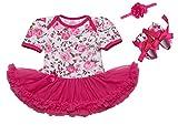 Scothen Vêtements bébé fille set 3 pièces Romper + chaussures + jupe tutu Pettiskirt + bandeau 1.arc-en-anniversaire robe déguisement cadeau pour bébés Tutu Bodysuit (de 0 à 12 mois)