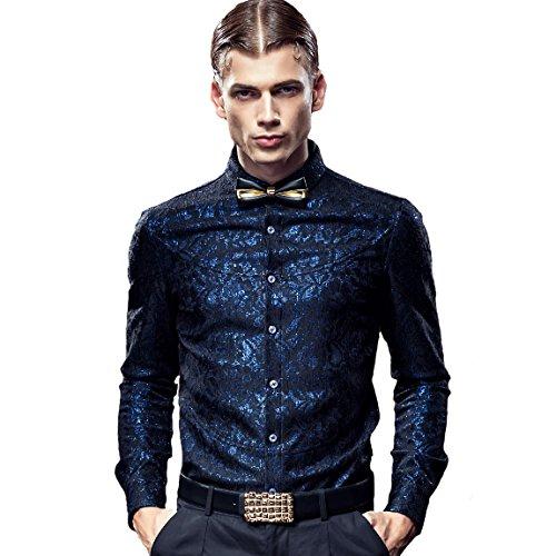 FANZHUAN Camicia Uomo Lunga Elegante Slim Particolari Maniche Lunghe Casual Lusso