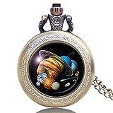 Reloj de Bolsillo para Hombre y Mujer, Planetas Sistema Solar, Cuarzo, Relojes de Bolsillo Antiguos, Exquisito Regalo para Hombres