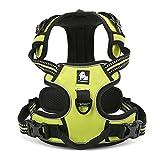 Louvra Arnés del Perro Antitirones Básicos Adjustable de Nylon, 3M Reflectante para Las Actividades al Aire Libre, Color Verde Claro, Tamaño L (65-77CM)