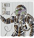 Abakuhaus Duschvorhang, Lustiges Liebes Zitat I Need My Space Blumenkopf Kosmonaut Pilot Mann Spaß Illustration Druck, Wasser und Blickdicht aus Stoff mit 12 Ringen Schimmel Resistent, 175 X 200 cm