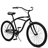 Critical Cycles Herren Chatham Men's Three Speed, Matte Black w/White Beach Cruiser, Matte Graphite w/White, One Size