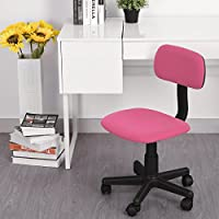 FurnitureR Kids Chair Low Back Adjustable Office Chair Computer Desk Seat Stylish Study Task Swivel Chair Armless Pink