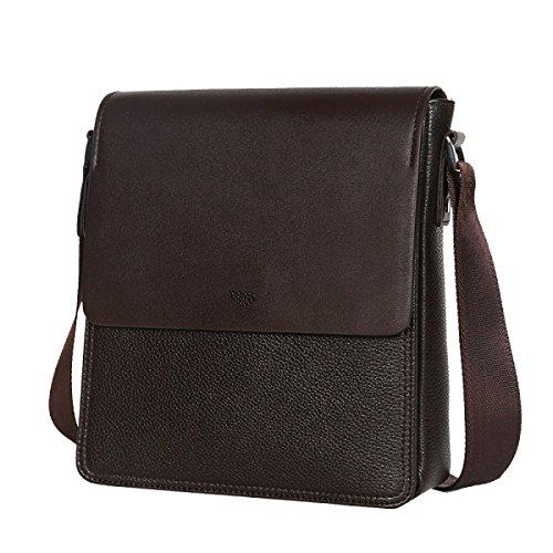 Yy.f New Geprägte Leder-Taschen Leder Mann Tasche Vertikale Version Von Business Casual Schultertasche Umhängetasche Rucksack Männlich Feste Farbe Umhängetasche Brown