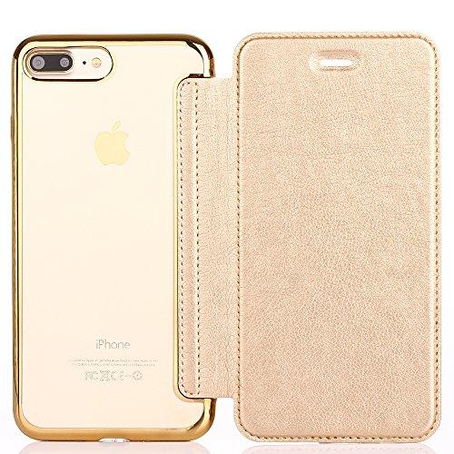 Flip Ledertasche für Apple iPhone 7 (4.7 zoll) - Aohro Luxus Dünn PU Leder Wallet Lederhülle Case Hülle Schutzhülle mit Kartenfächer. (Klar TPU Rückseite Cover) - Rot (Red) Gold