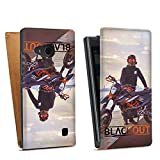 Nokia Lumia 730 Tasche Hülle Flip Case Blackout Motorrad Motorsport