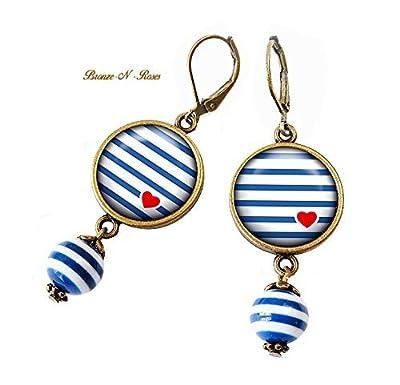 Boucles d'oreilles * marinière * rayures bleues cœur rouges cabochon bronze perle