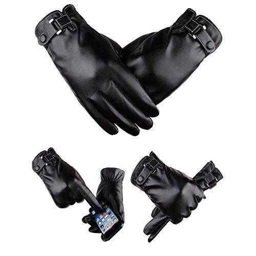 Finoki Erwachsene Leder Reithandschuhe Wasserdichte Winter Warme Touchscreen Handschuhe PU (Schwarz A)