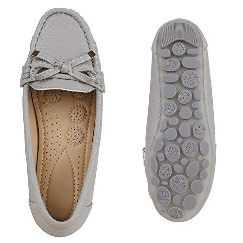 Damen Slipper Pastell Flats Schuhe Lederoptik Grau Schleife Berkley