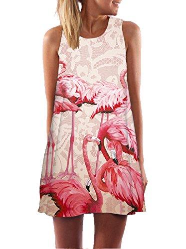 Ocean Plus Damen Casual Top Freizeit Flamingo Blätter Sommer Ärmellos Kleider Ohne Arm Westenkleid...