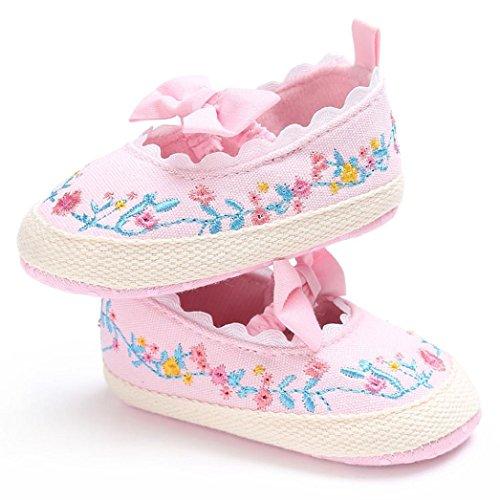 Igemy 1Paar Baby Säugling Kinder Mädchen Weich Blumen Bogen Lace Crib Kleinkind Neugeborene Schuhe Rosa
