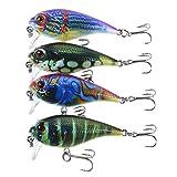 Lixada 4PCS Diving Crankbait Fishing Lures 9g 55mm Artificial Bait Hard Fishing Lure Set Wobbler Bait with #8 Hooks