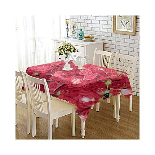 Daesar Polyester Tischdecke Abwaschbar Party 140x220CM Rot Rosa Blumen Tischtücher Party Modern -