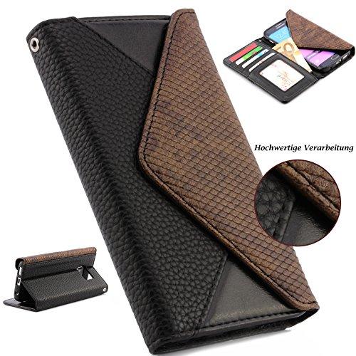 ScorpioCover Handy Schutz Tasche im Portmonee Design kompatibel mit Samsung Galaxy S6 Edge Croco Look Brieftasche Smartphone Cover Clutch Case schwarz -