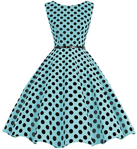 Bbonlinedress 50s Retro Schwingen Vintage Rockabilly kleid Faltenrock Blue Black Big Dot L (Marine In Dress Blues)