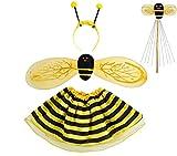 Iso Trade Kostüm Marienkäfer Biene Set Verkleidung Kinder Rot/Schwarz 4 Elemente Komplett Outfit #6613, Muster:Biene