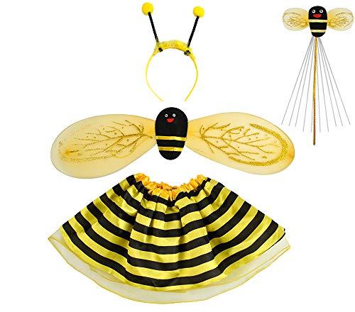 (Iso Trade Kostüm Marienkäfer Biene Set Verkleidung Kinder Rot/Schwarz 4 Elemente Komplett Outfit #6613, Muster:Biene)