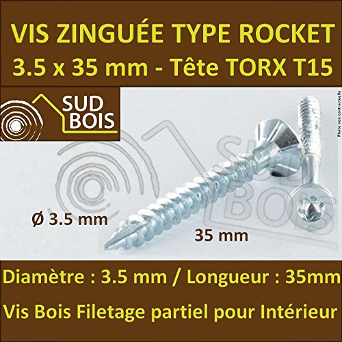 200 Vis Bois 3.5x35 TORX T20 Zinguée Pointe Anti-Fendage type Rocket