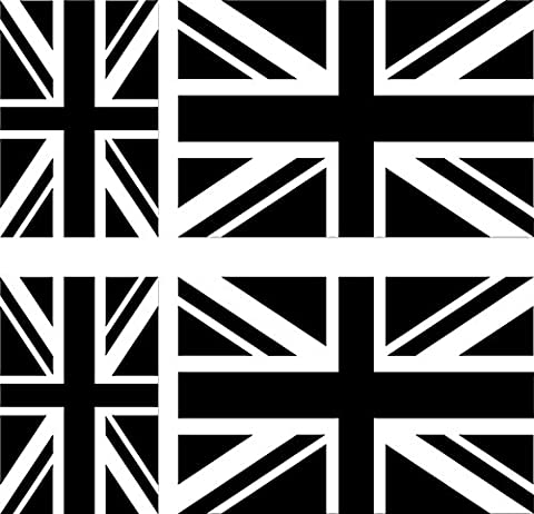 6 x Vinyl Decal Sticker Car Bike Laptop Black & White Union Jack Flag