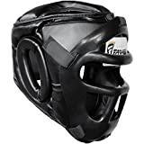 Farabi Sports Boxing HeadGuard, Helmet Head prototector Gear Real Leather (Large)