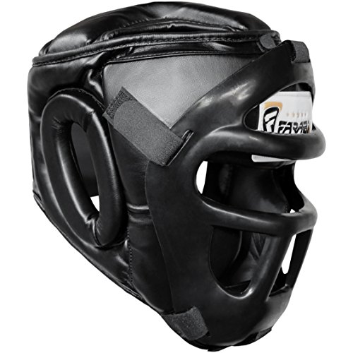 Farabi Sports Boxing HeadGuard, Helmet Head prototector Gear Real Leather (Large) -