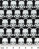 Halloween Stoff?Skulls silber Glitzer?0,5m, BEN153, Gothic Glam von benartex?100% Baumwolle Skulls Glitter BEN153