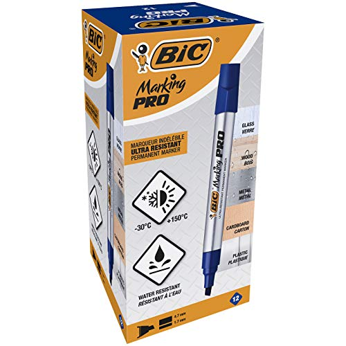 BIC Marking Pro - Caja de 12 unidades, marcadores permanentes punta biselada, color azul