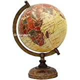 Globeskart Educational/Antique Globe With Brass Antique Arc And Wooden Base / World Globe / Home Decor / Office Decor / Gift Item / 8 Inches (Beige Multi)