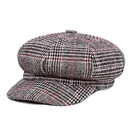 Anywow Herren Herren Plaid Visier Barett Mütze Newsboy Hut Cabbie Hats Maler Hut