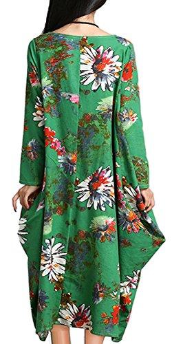 P Ammy Fashion Women's Floral Patterned Maxi Dress Green Size UK 14