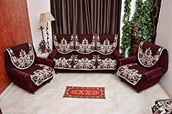 Eleganthomes Cotton Floral Sofa Cover(Maroon) - 27X23 Inches