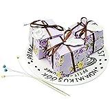 JZK 50 Vintage schäbig Lila Rose Schachtel Geschenkbox Gastgeschenk Kartonage Klein Süßigkeiten Kartons Bonboniere Kasten, Tischdeko Favous Box für Hochzeit Party Feier