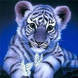 MXJSUA DIY 5D Diamant-Malerei Kits Rund Kristall Strass Stickerei Bilder Arts Craft für Home Wand Decor Geschenk Blau Tiger 30,5x 30,5cm