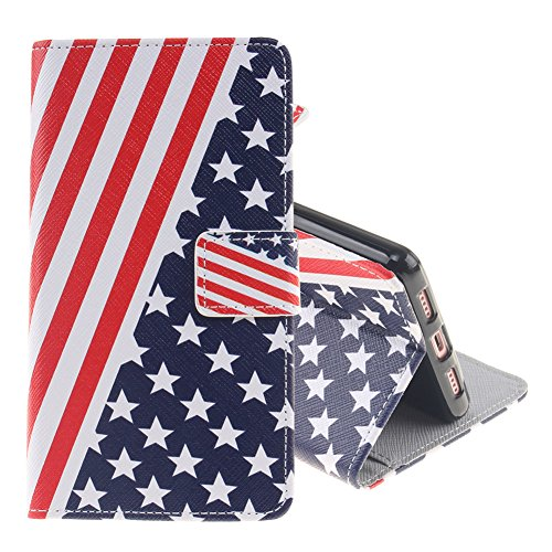 Custodia per Huawei P9 Lite, Pridot Classico Illustrazione Design Smart Phone Case Premio Flip Wallet Cover con Funzione di Sostegno - American Flag