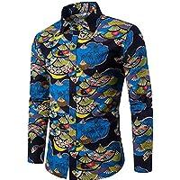 WULIFANG Impresión De Flores De Moda para Hombres Camiseta Clásica Versión Slim Retro Hombres Transpirable De Algodón Camisa De Manga Larga Azul XXXL
