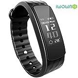 iwownfit i6HR Fitness Tracker Smart-Armband mit Dynamische Herzfrequenz Monitor Deep/Light Sleep Tracking, Call, Text & Kalender Benachrichtigungen Kalorien Schritte Track Wasserdicht ArmBand Für Android IOS, schwarz