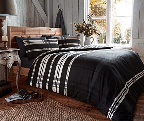 EDS 100% BRUSHED COTTON FLANNELETTE KING BED DUVET COVER BEDDING SET – OMEGA BLACK