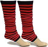 A-Express Mujer Chicas Rayas Calentadores de piernas para tutú Disfraces - Rojo