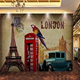 Bomdow Wallpaper European American Oil Painting Paris Tower Classic Car Back Mural Living Room Restaurant Cafe-280X200Cm