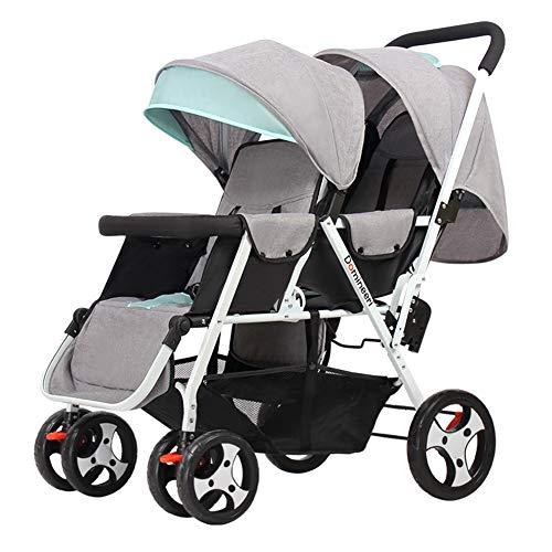 WYX-Stroller Zwillinge Kinderwagen Falten Licht Doppel Kinderwagen Zwei Sitz Neugeborenen Kinderwagen Rollstuhl 0 Bis 3 Jahre,a (Doppel-kinderwagen Falten)