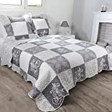 Lovely Casa Courtney Boutis 240X220+2Taies Polyester Gris 220 x 240 cm