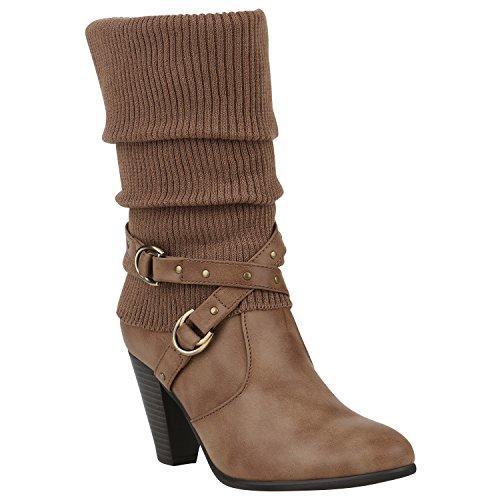 Gefütterte Damen Stiefel Stulpen Klassische Stiefeletten Nieten Schuhe 150251 Khaki Stulpen 39 | (Stiefel Damen Sale)