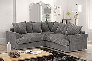 Ferguson Corner Sofa in Cord Chenille Fabric - Grey