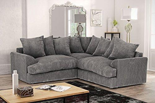 Ferguson Corner Sofa in Cord Chenille Fabric – Grey