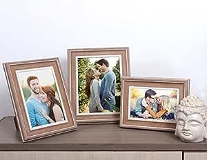 Art Street Earthy Set of 3 photo frame Mix Size (Glass, 4x6, 5x7, 6x8, Brown)
