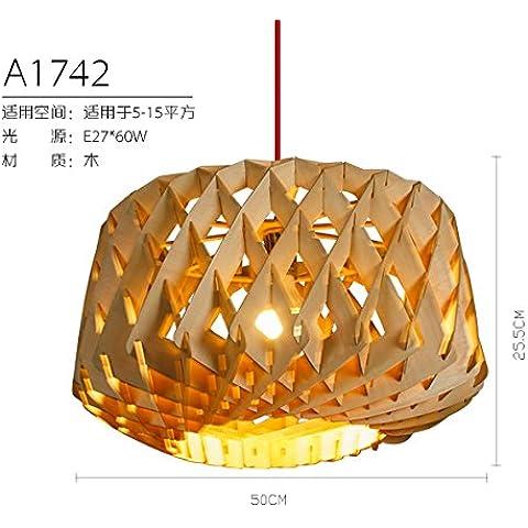 LYNDM Il cinese in vero legno lampadari stile Liberty tatami giapponese camera da letto lampadario di studio ristorante Cafe lampadari ,A1742 il sud-est asiatico(senza luce)