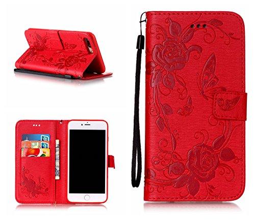 iPhone 7 Plus Hülle, iPhone 8 Plus Hülle, Valenth [Pu Leder] Schmetterling Partern Hülle Cover [Standfeder] Flip Hülle mit Card Slots für iPhone 8 Plus / iPhone 7 Plus 5#