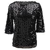 Fanmay Mode Damen T-shirt Sommer Top Tops Kurzarm Pailletten Blouse Locker Glitzernde Langshirt Kurzarm Shirts Oberteil Pullover (XXL, Schwarz)