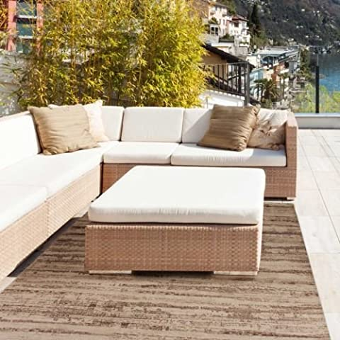 Waschbarer Teppich für Balkon, Terrasse in 65x180 | Teppich Outdoor Beige rutschfest *OVP*
