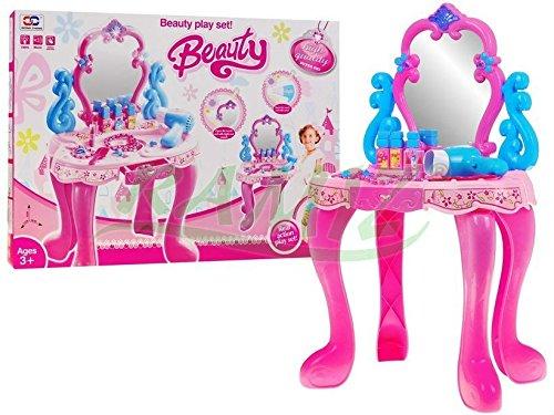 Kinderschminktisch - Frisiertisch - Schminkkommode - Schminktisch - Schminkstudio - Kinderschminktisch Set mit Spiegel, Haartrockner und Zubehör